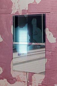 <p><em>Wellcome I</em>, 2015<br /> Glass, Silver 20 Interior Film, LED-sheets, Arduino-Boards,<br /> each 60 × 90 cm<br /> Image: Gina Folly</p>