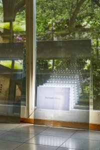 <p><em>Mermaid Wang</em>,  2015<br /> Glass pane, Silver 20 Interior Film, LED sheet, Arduino-Board controller, Xerox-print, 3D-print (ABS), 90 × 60cm<br /> Image: David Aebi</p>