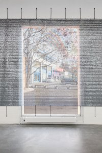 <p>Detail, <em>(sic)</em>, 2013<br /> mesh tarp, digital print<br /> 300 × 1200 cm<br /> Kunsthaus Baselland, Muttenz, CH</p>