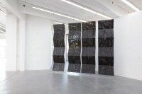 <p><em>Untitled (Weedblock)</em>, 2014<br /> PVC (weedblock), steel ropes<br /> variable dimensions<br /> Kunsthaus Baselland, CH<br /> Image: Sylvain Baumann</p>